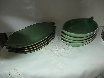 Ceramic Green Leaf Plates And Matching Bowls