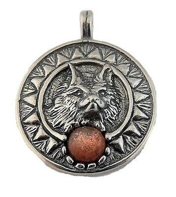 Viking SUN WOLF Pendant .925 Sterling Silver w/ natural Sunstone - Norse Wolves