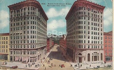 1914 Vintage Postcard showing Boston and Newhouse Bldgs, Salt Lake City