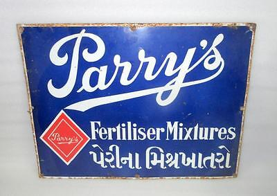 Vintage Old Collectible Parry Fertiliser Mixtures Porcelain Enamel Sign Board