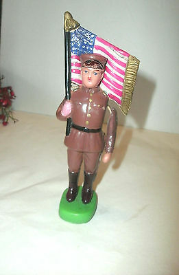 """Vintage Celluloid Toy Soldier With United States Flag, String Arm, 6"""""""