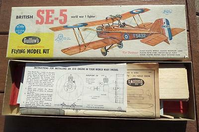 Guillow's SE-5A WW1 Rubber Powered Fighter Airplane Kit 1960's Kit #105 18 Wing