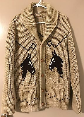 Vintage CALDWELL OF CANADA knitted Horse cardigan sweater Small rockabilly