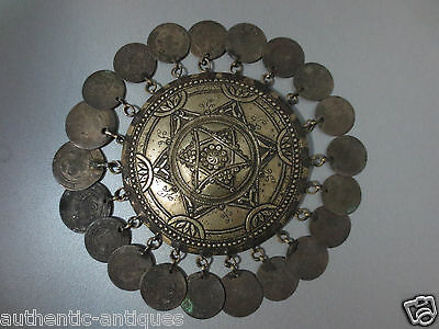 Antique Head Bridal 19th C Ottoman Folklore Ornament with 21 LARGE SILVER COINS