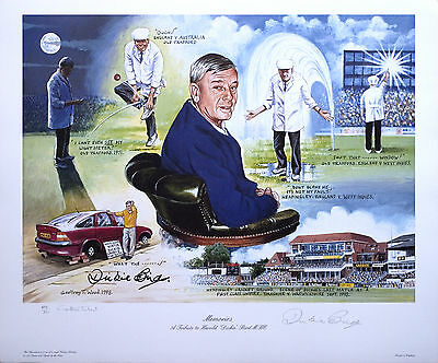 Memories Signed Ltd Edition, Cricket Print countersigned by umpire Dickie Bird