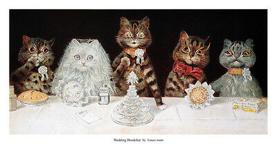 Wedding Breakfast by Louis Wain - Open edition print - Cats