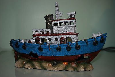 Stunning Aquarium Blue & Red Detailed Tug Boat Decoration 30.5 x 12 x 20 cms