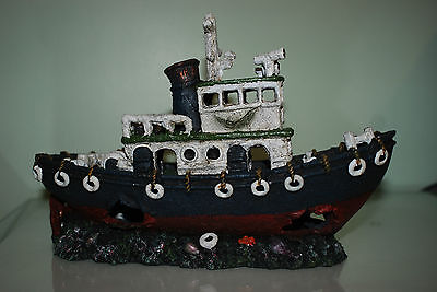 Stunning Aquarium Grey & White Detailed Tug Boat Decoration 30.5 x 12 x 20 cms
