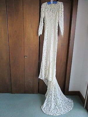 Ivory Lace 1935 Wedding Dress Floral Pattern w/Train & Headpiece ~ Gorgeous!