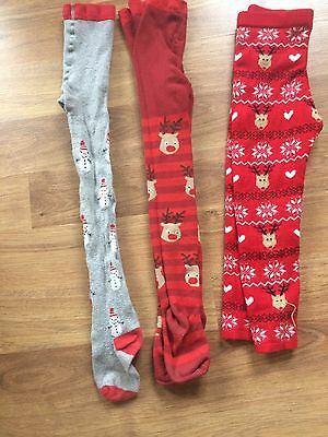 Girls Next Christmas Tights Age 5-6 X2 Pairs Also Xmas Trousers Age 6/7