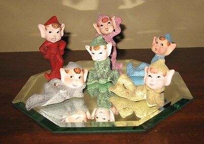 6 Vintage Christmas  Mica Glitter Pixie Elves Japan Ornaments With Mirror Set