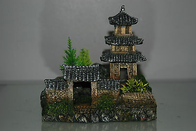 Aquarium Detailed Asian Temple 18  x 13 x 17 cms Suitable For All Aquariums