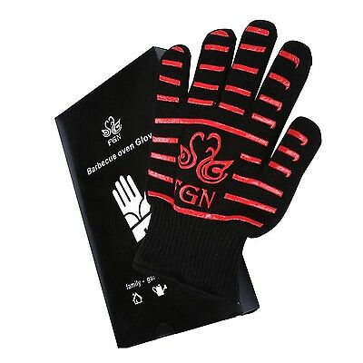 PREMIUM BBQ Grill Gloves, Heat & Cut Resistant, Cotton Lined Oven Mitts, 1 PAIR