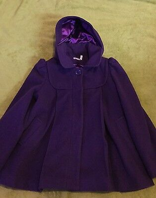 Monsoon Girls Kids 10-12 Years Purple Coat Hooded Used Good Condition