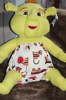 HANDMADE DIAPER/NAPPY COVER PANTS 12-24 MONTHS ( unisex) STRIPEY CRITTERS