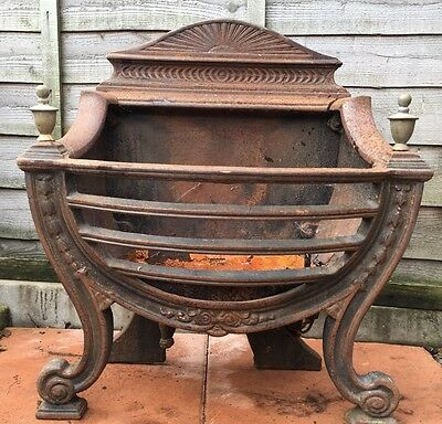 Cast Iron Gas Fire/log Burner Basket With Brass Finials For Restoration