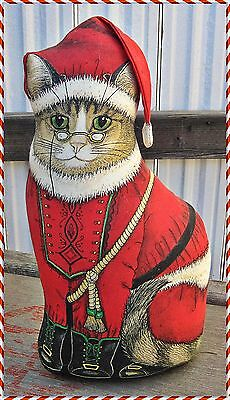 """SANTA PAWS Cat DOORSTOP 1994 DOROTHY DEAR DESIGNS The Toy Works USA Made 15""""H"""