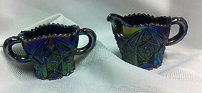Carnival glass, creamer and sugar, childs size