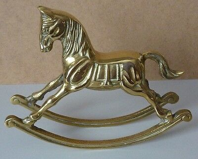 Two Solid Brass Rocking Horses