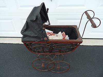 "Vintage Victorian Ornate Wicker Baby Doll Stroller Carriage Buggy 32""+ Ht"