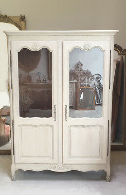 Decorative Old French Painted Armoire / Cupboard