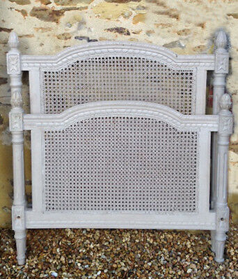 WONDERFUL FRENCH ANTIQUE SINGLE LOUIS XVI STYLE CANE BED - c1900