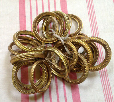 Set of 21 Old French Gilded Tole / Brass Curtain Rings