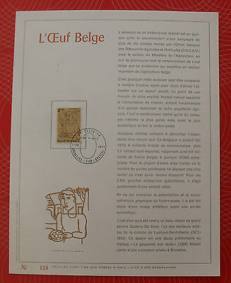 """Feuillet luxe 124 - Timbre belge 4,50 F, 1977 """"L'Oeuf Belge"""""""