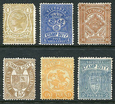 1850-1913 Victoria.  Victorian Stamp Duty.  6 stamps MLH (some with no gum).