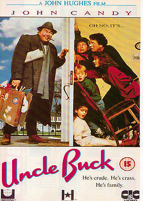 A4 Advert for the Video Release of Uncle Buck John Candy