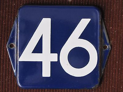 vintage  enamel porcelain number 46 street house door gate sign # 46