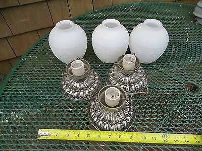 Three (3) Old Cast Iron Ceiling Light Fixture  Art Deco W/satin Frosted Shades