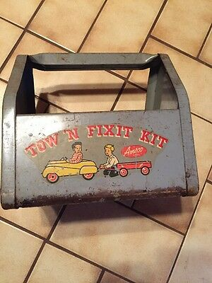 Vintage Pedal Car Tow 'n Fixit Kit Amsco Toy Tool Caddy