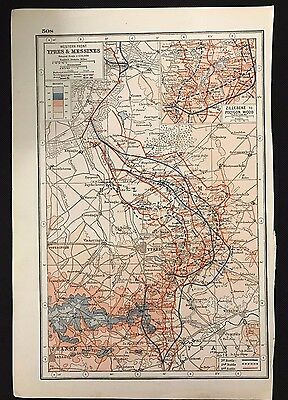 Vintage Map, WW1 Western Front, Ypres & Messines - Harmsworth's Atlas