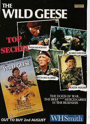 A4 Advert for the Video Release of Wild Geese Richard Burton Roger Moore