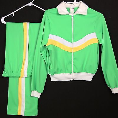 Vintage 70s Womens Jogging Sweat Suit JCPenney High Waist Green White Yellow