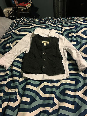 Boys Size 2T Cherokee White Long-Sleeve Shirt and Charcoal Gray Vest Set