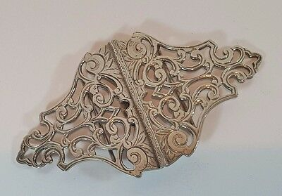 HEAVY ART NOUVEAU STYLE ACANTHUS HM SILVER NURSE BELT BUCKLE 1996 58 grams