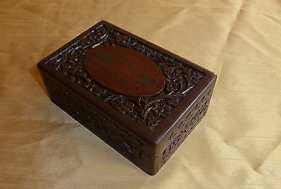 Carved And Inlaid Rosewood Trinket Box