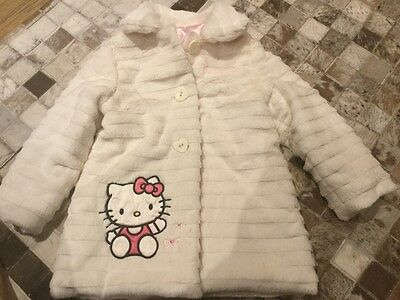 Girls gorgeous soft cream fur coat age 3-4 years