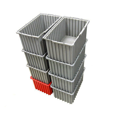 "(Lot of 8) Akro Mils 33168 Akro Grid Dividable Boxes/Bins 16-1/2"" x 10-7/8"" x 8"""