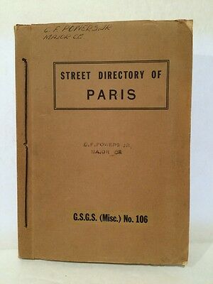 Vintage 1944 World War II Street Directory Paris Fold-Out Maps Military Issue