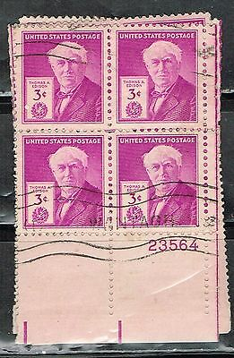 (13-639) 1 Cancelled Plate Block Thomas Edison US Postage sTamps