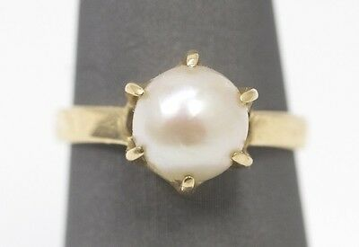 Vintage 8.25mm Pearl Solitaire Ring 14k Yellow Gold Size 5.5