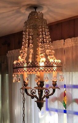 Vintage - Antique Brass and Crystal Chandelier, 4 Lights - Beautiful