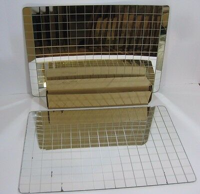 Pair Of Vintage Folding Flex-Sheet Mirror Placemats Glass Mirrored Squares