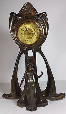 Vintage Bronzed Pewter Art Nouveau Style Zeit Eipt Mantel Clock - Not Working