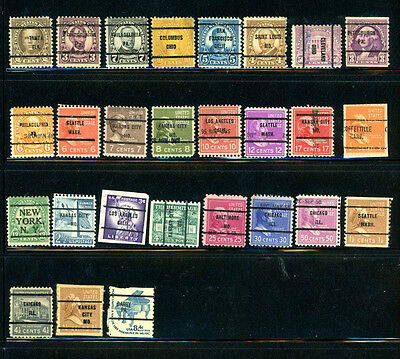 US Great selection of 27 Precancelled  used Great Stamps