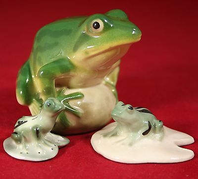 Three Frogs Figurines, Lomonosov Porcelain, Russian / USSR LFZ