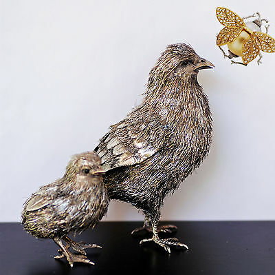 Clementi Fabbrica For Buccellati-Sterling Silver Mother Bird And Chick-Realistic